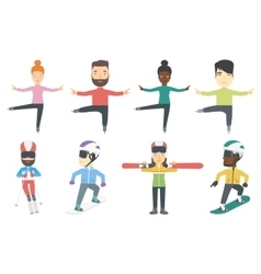 set of winter sport characters vector image vector image