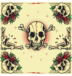 Skull and rose frames vector