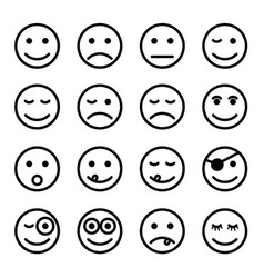 smiley faces in black and white color set vector image vector image