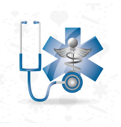 Stethoscope with medical symbol to save lifes vector