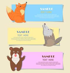 three forest predatory animals on alphabet images vector image