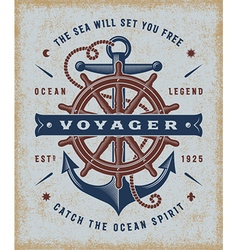 Vintage Nautical Voyager Typography vector image vector image