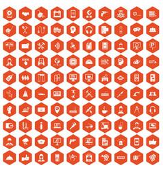 100 support icons hexagon orange vector