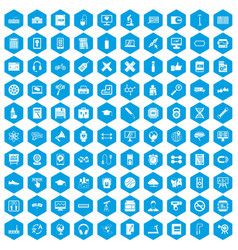 100 training icons set blue vector