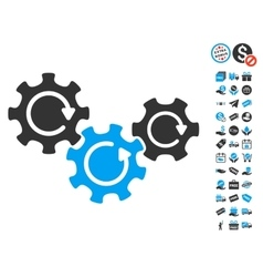 Transmission gears rotation icon with free bonus vector