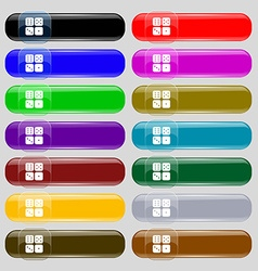 Dices icon sign set from fourteen multi-colored vector