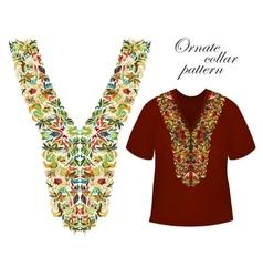 Neckline embroidery beautiful fashionable collar vector
