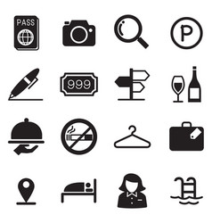 Hotel silhouette icons vector