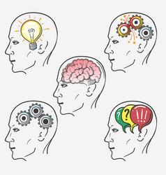human brain thinking process set vector image