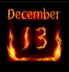 Thirteenth december in calendar of fire icon on vector