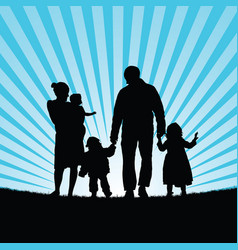 Family happy with children happy in nature vector