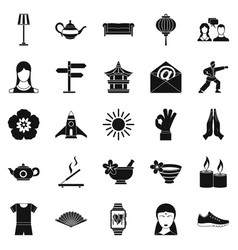 Asia icons set simple style vector