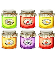 Six different jams vector