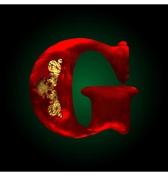 Velvet g letter with gold vector