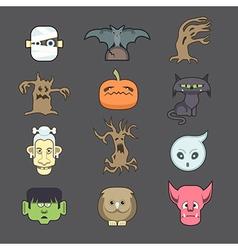 Spooky halloween creatures vector