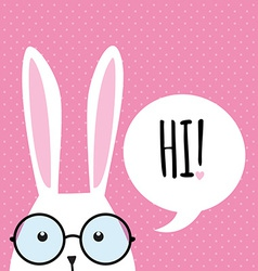 Greeting card with funny bunny easter bunny ears vector