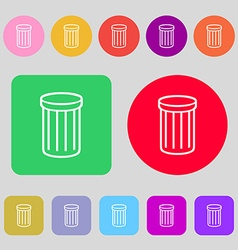 Recycle bin sign icon symbol 12 colored buttons vector
