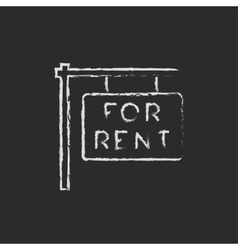 For rent placard icon drawn in chalk vector