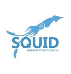 Squid logo blue squid silhouette vector