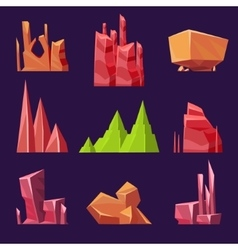 Stones rocks and canyons set for games vector