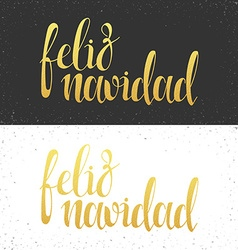 Merry christmas card with greetings in spanish vector