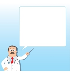 Funny doctor with pointer design template vector