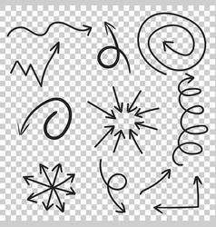 Arrows icon set hand drawn on isolated background vector
