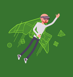 Augmented reality man jetpack flying vector