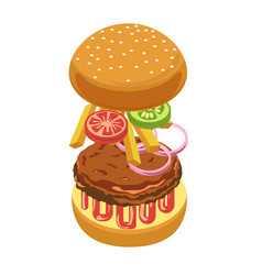 Burger or hamburger ingredients constructor vector