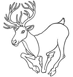 Cartoon deer with large antlers vector
