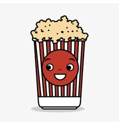 Cartoon pop corn basket icon vector