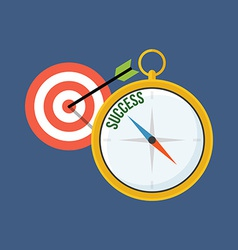 Compass points to success flat design isolated on vector