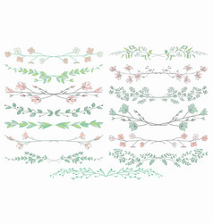 dividers with branches plants and flowers vector image vector image