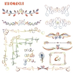Doodle bordercornerdecor setColored watercolor vector image