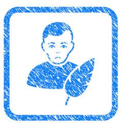 Feather writer framed stamp vector
