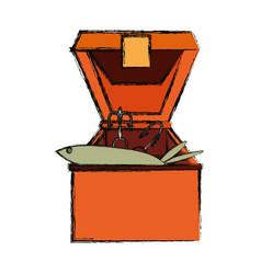 Fisherman box isolated vector