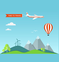 Flat banner travel with landscape vector