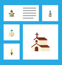 Flat icon christian set of structure catholic vector
