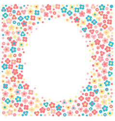Frame with tiny flowers in a cartoon style vector