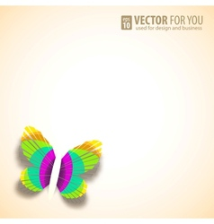 Greeting card with paper butterfly vector image