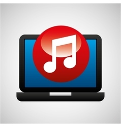 laptop icon music social media vector image vector image