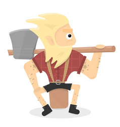 Lumberjack cartoon character is a vector