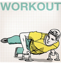 Man doing push-ups bars vector
