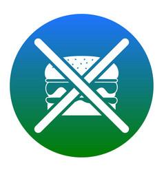 No burger sign white icon in bluish vector