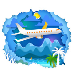 paper art with aircraft vector image