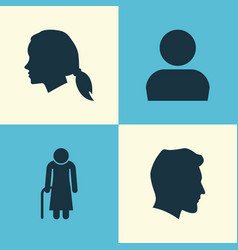 People icons set collection of gentlewoman head vector