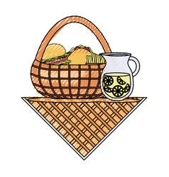 Picnic basket vector