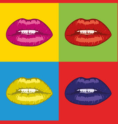 Pop art woman lips vector