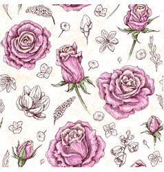 roses sketch pattern vector image
