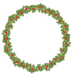 round christmas wreath with holly eps 10 vector image vector image